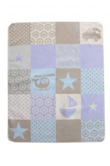 Babydecke Juwel Patch Boy hellblau