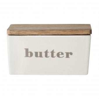 Bloomingville Butterdose grey mit Holzdeckel