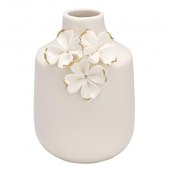 Vase Flower white gold small