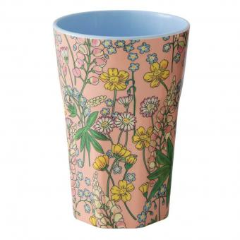 Melamin Becher Latte Cup Lupin Print Coral
