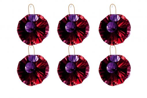 Glitzerschmuck Ball rot-pink 6er-Set